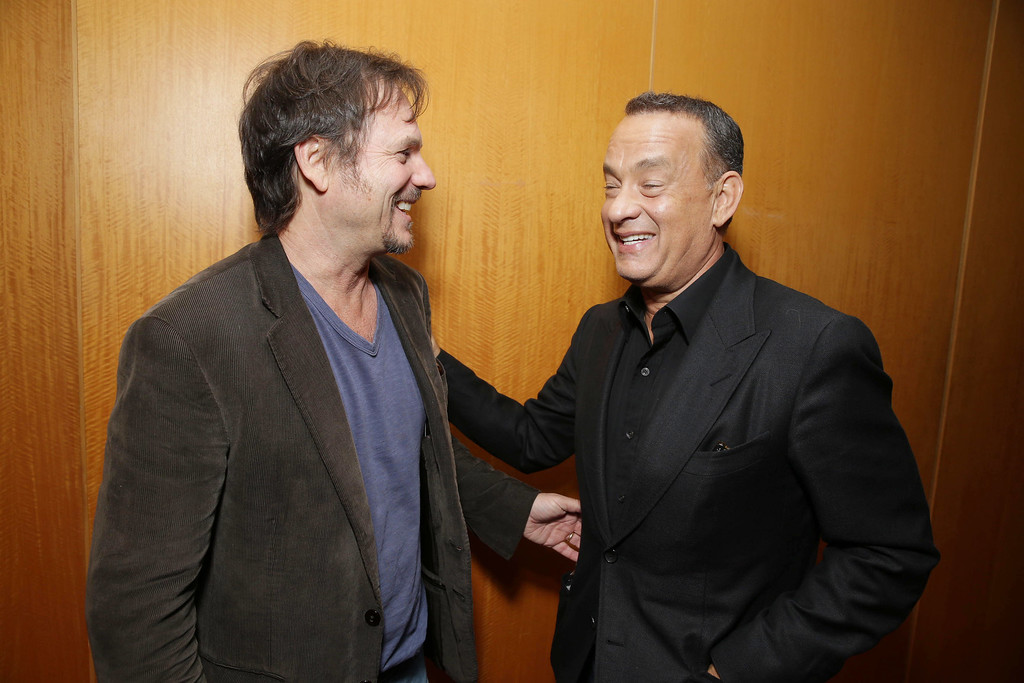 . Bill Paxton, left, and Tom Hanks arrive at Columbia Pictures screening of \'Captain Phillips\', on Monday, Sept. 30, 2013 in Beverly Hills, Calif. (Photo by Eric Charbonneau/Invision for Sony Pictures/AP Images)