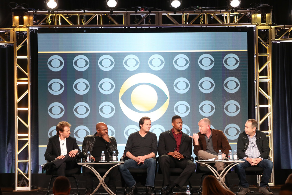 . PASADENA, CA - JANUARY 09:  (L-R)  Executive producers Jerry Bruckheimer and Antoine Fuqua, actors Bill Paxton and Justin Cornwell, and executive producers Will Beall and Barry Schindel of the television show \'Training Day\' speak onstage during the CBS portion of the 2017 Winter Television Critics Association Press Tour at the Langham Hotel on January 9, 2017 in Pasadena, California.  (Photo by Frederick M. Brown/Getty Images)