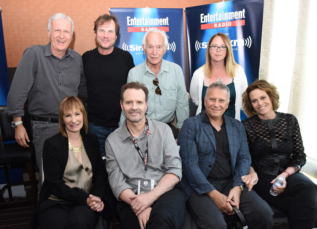 . SAN DIEGO, CA - JULY 23:  Director James Cameron and actors Bill Paxton, Lance Henriksen, Carrie Henn, Gale Anne Hurd, Michael Biehn, Paul Reiser and Sigourney Weaver attend SiriusXM\'s Entertainment Weekly Radio Channel Broadcasts From Comic-Con 2016 at Hard Rock Hotel San Diego on July 22, 2016 in San Diego, California.  (Photo by Vivien Killilea/Getty Images for SiriusXM)
