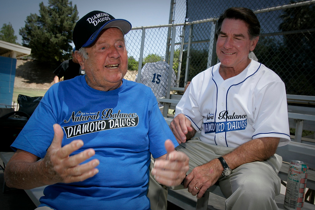 """. Actor Dick Van Patten, left, and former Dodger Steve Garvey chat before practice.  Van Patten\'s \""""Diamond Dawgs\"""" little league team and 40 others competed in the 5th annual Strike Out Lou Gehrig\'s Disease in Thousand Oaks.  (2009 Photo by David Crane/Los Angeles Daily News)"""