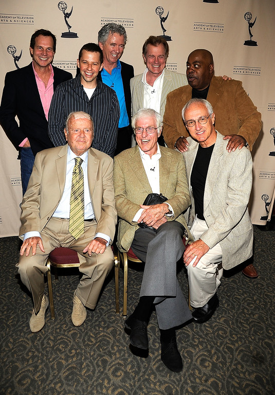 """. (l-r back) Bill Paxton, Jon Cryer, Patrick Duffy, Stephen Collins, Reginald Veljohnson.(front l-r)  Dick Van Patten, Dick Van Dyke, Michael Gross pose at the Academy Of Television Arts & Sciences\' \""""Father\'s Day Salute To TV Dads\"""" on June 18, 2009 in North Hollywood, California.  (Photo by Frazer Harrison/Getty Images)"""