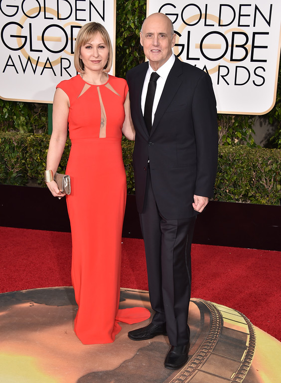 . Jeffrey Tambor, right, and Kasia Ostlun arrive at the 73rd annual Golden Globe Awards on Sunday, Jan. 10, 2016, at the Beverly Hilton Hotel in Beverly Hills, Calif. (Photo by Jordan Strauss/Invision/AP)
