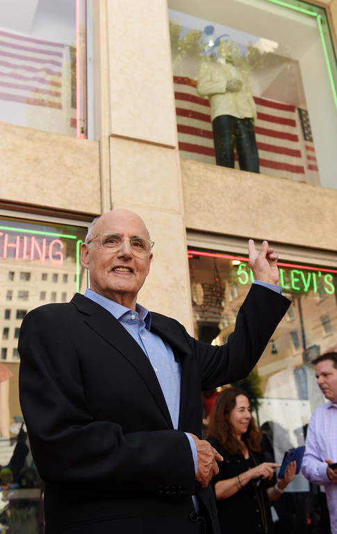 . Actor Jeffrey Tambor gestures to a mannequin of actor Humphrey Bogart following a ceremony to award Tambor a star on the Hollywood Walk of Fame on Tuesday, Aug. 8, 2017, in Los Angeles. Tambor\'s star is next to Bogart\'s on Hollywood Boulevard. (Photo by Chris Pizzello/Invision/AP)