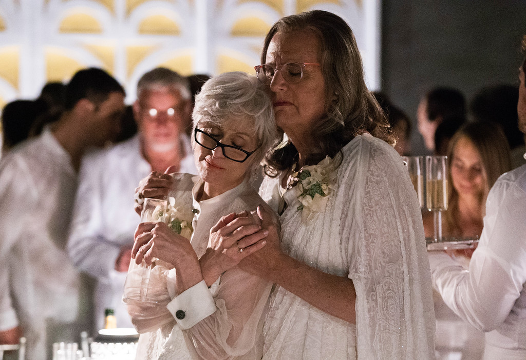 """. In this image released by Amazon, Judith Light, left, and Jeffrey Tambor appear in a scene from, \""""Transparent.\""""  (Jennifer Clasen/Amazon via AP)"""