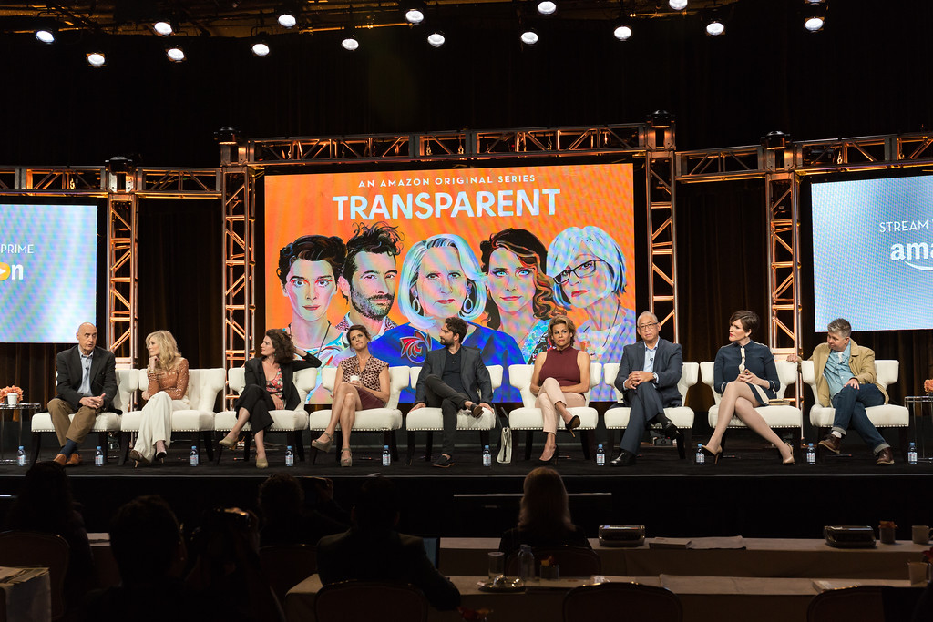 """. Jeffrey Tambor, from left, Judith Light, Gaby Hoffmann, Amy Landecker, Jay Duplass, Alexandra Billings, Victor Hsu, Our Lady J, and Ali Liebegott participate in the \""""Transparent\"""" panel during the Amazon Television Critics Association summer press tour on Sunday, Aug. 7, 2016, in Beverly Hills, Calif. (Photo by Willy Sanjuan/Invision/AP)"""