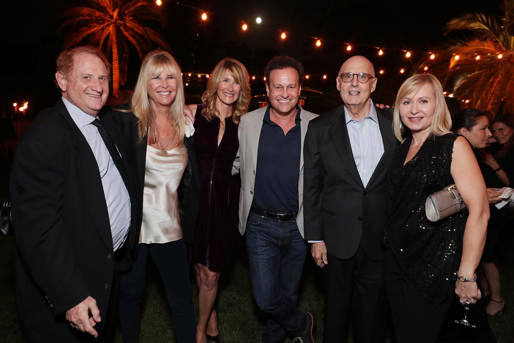 . Mike Medavoy, Irena Ferris, Laura Dern, Mitch Hurwitz, Jeffrey Tambor and Kasia Ostlun seen at Ted Sarandos\' Annual Netflix Emmy Nominee Toast on Friday, September 16, 2016, in Los Angeles, CA. (Photo by Eric Charbonneau/Invision for Netflix/AP Images)