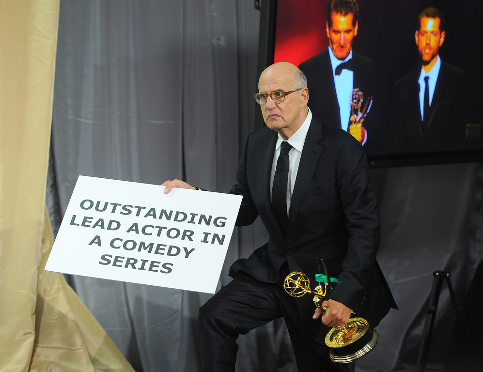 . Jeffrey Tambor poses with the award for outstanding lead actor in a comedy series for �Transparent� at the 67th Primetime Emmy Awards on Sunday, Sept. 20, 2015, at the Microsoft Theater in Los Angeles. (Photo by Vince Bucci/Invision for the Television Academy/AP Images)
