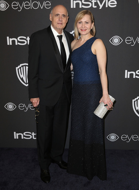 . Jeffrey Tambor, left, Kasia Ostlun arrives at the InStyle and Warner Bros. Golden Globes afterparty at the Beverly Hilton Hotel on Sunday, Jan. 8, 2017, in Beverly Hills, Calif. (Photo by Matt Sayles/Invision/AP)