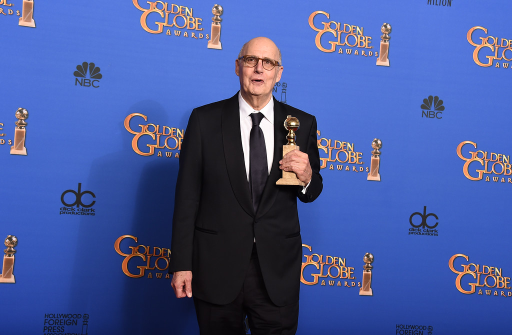 . Jeffrey Tambor poses in the press room with the award for best musical or comedy series for �Transparent�  at the 72nd annual Golden Globe Awards at the Beverly Hilton Hotel on Sunday, Jan. 11, 2015, in Beverly Hills, Calif. (Photo by Jordan Strauss/Invision/AP)