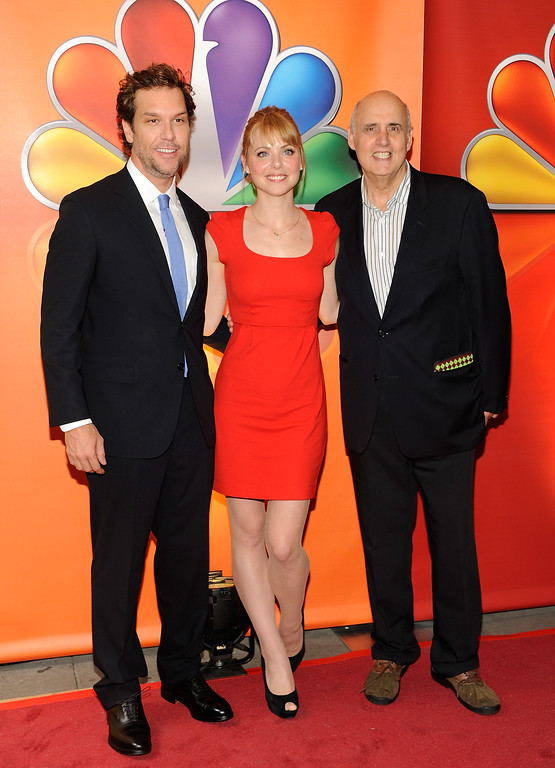 """. \""""Next Caller\"""" cast members Dane Cook, Collette Wolfe and Jeffrey Tambor arrive for the NBC network upfront presentation at Radio City Music Hall, Monday, May 14, 2012 in New York. (AP Photo/Evan Agostini)"""