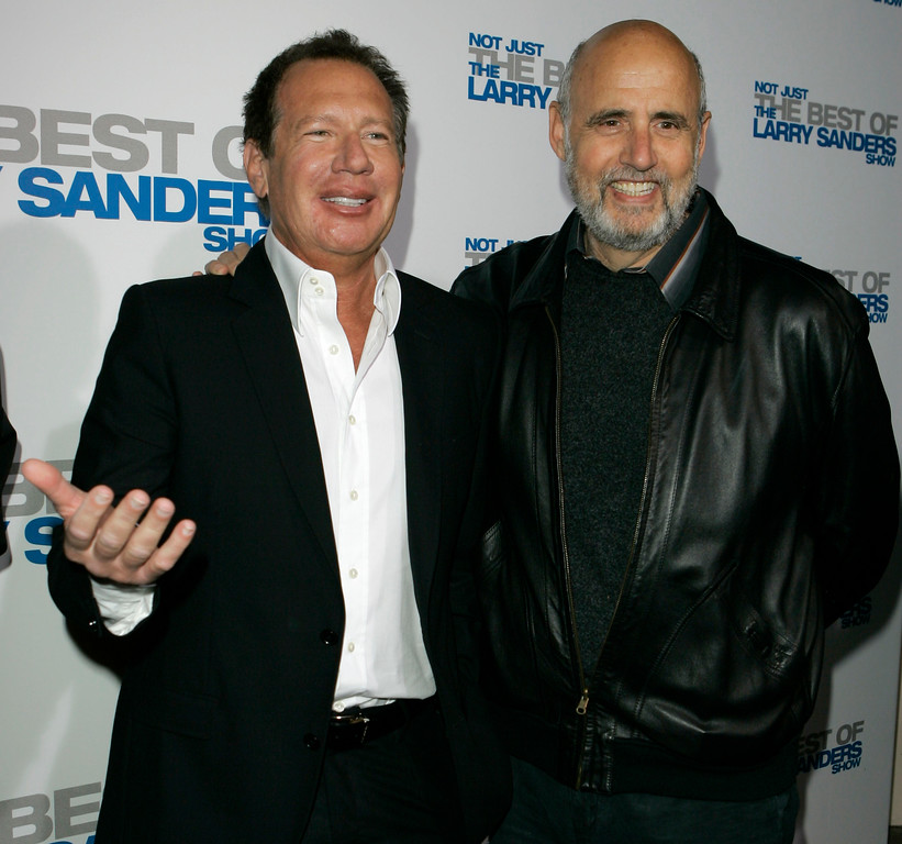 """. File - Actor Gary Shandling, left, and actor Jeffrey Tambor arrive at the wrap party and DVD release for \""""The Larry Sanders Show\"""" in Beverly Hills, Calif., Tuesday, April 10, 2007. (AP Photo/Chris Carlson)"""