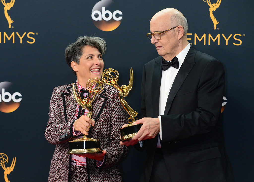 . Emmy award winners  Jill Soloway and Jeffrey Tambor pose backstage at the 68th Annual Emmy Awards at the Microsoft Theater in Los Angeles, California on Sunday, September 18, 2016. (Photo by Michael Owen Baker, Los Angeles Daily News/SCNG)