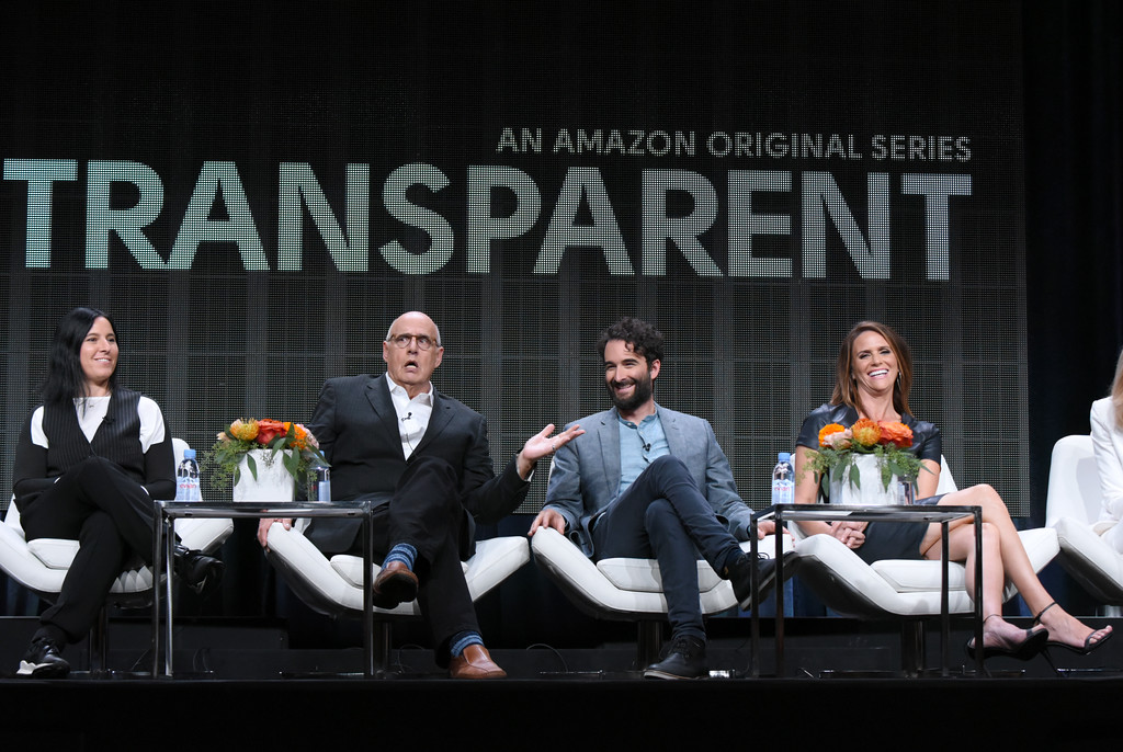 """. Producer Andrea Sperling, from left, Jeffrey Tambor, Jay Duplass and Amy Landecker participate in the \""""Transparent\"""" panel at the Amazon Summer TCA Tour at the Beverly Hilton Hotel Monday, Aug. 3, 2015, in Beverly Hills, Calif. (Photo by Richard Shotwell/Invision/AP)"""