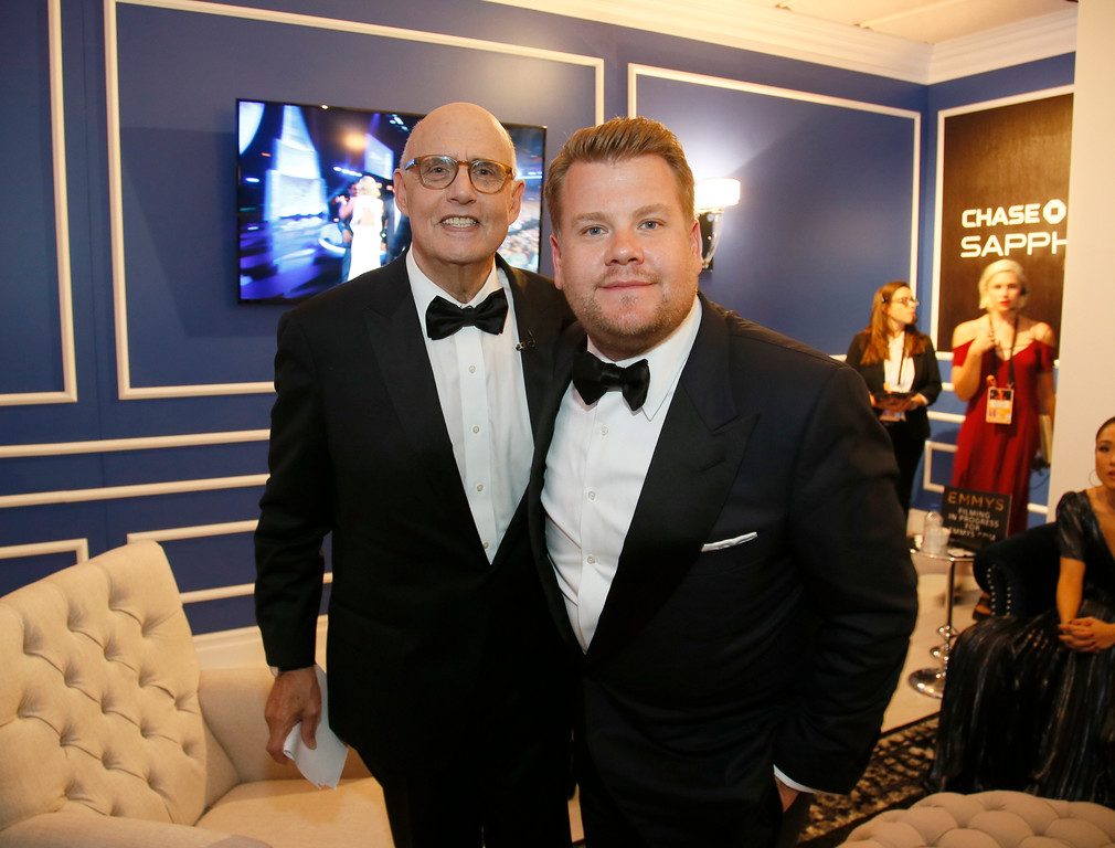 . Jeffrey Tambor, left, and James Corden pose backstage at the 68th Primetime Emmy Awards in the Chase Sapphire Reserve Blue Room on Sunday, Sept. 18, 2016, at the Microsoft Theater in Los Angeles. (Photo by Danny Moloshok/Invision for the Television Academy/AP Images)