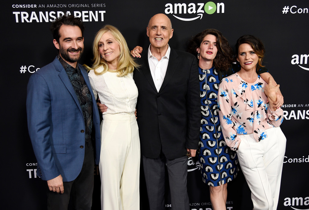 """. From left, Jay Duplass, Judith Light, Jeffrey Tambor, Gaby Hoffmann and Amy Landecker, cast members in the Amazon original series \""""Transparent,\"""" pose together before an Emmy For Your Consideration screening of the show at the Directors Guild of America on Thursday, May 5, 2016, in Los Angeles. (Photo by Chris Pizzello/Invision/AP)"""