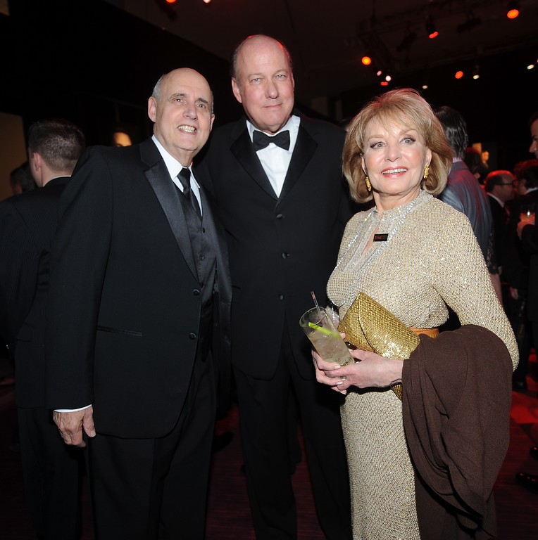 . Jeffrey Tambor, Bill Geddie and Barbara Walters attend the TIME\'s 100 Most Influential People in the World Gala on Tuesday, April, 23, 2013 in New York City, New York. (Photo by Brad Barket/Invision for The Hollywood Reporter/AP Images)