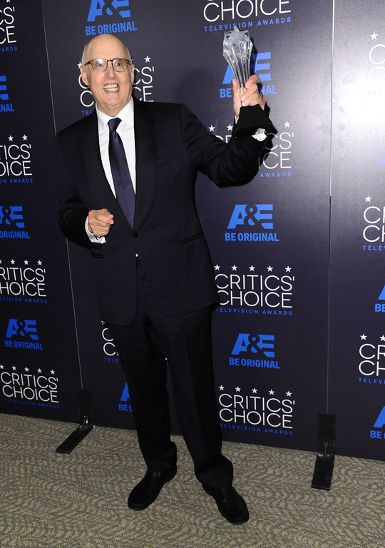 """. Jeffrey Tambor poses in the press room with the award for best actor in a comedy series for �Transparent\"""" at the Critics\' Choice Television Awards at the Beverly Hilton hotel on Sunday, May 31, 2015, in Beverly Hills, Calif. (Photo by Richard Shotwell/Invision/AP)"""