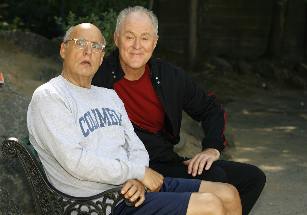 """. Co-stars Jeffrey Tambor, left, and John Lithgow pose for a photo after shooting a scene on the set of their new NBC sitcom \""""Twenty Good Years\"""" Monday, Sept. 18, 2006, in Studio City, Calif. (AP Photo/Danny Moloshok)"""