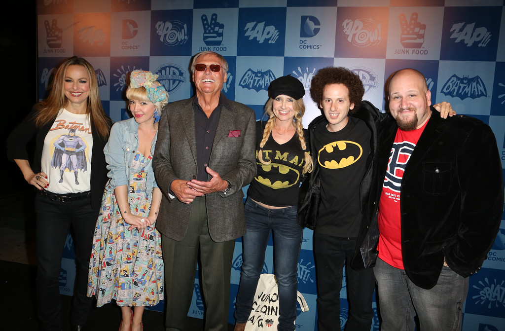 . From left, Melora Hardin, Jessica Kiper, Adam West, Tess Hunt, Josh Sussman, and Stephen Kramer Glickman pose on the black carpet at the launch event of Warner Bros. Consumer Products and Junk Food Clothing�s Batman Classic TV Series-inspired product line at Meltdown Comics on Thursday, March 21, 2013 in Hollywood, CA. (Photo by Casey Rodgers/Invision for Warner Bros./AP Images)