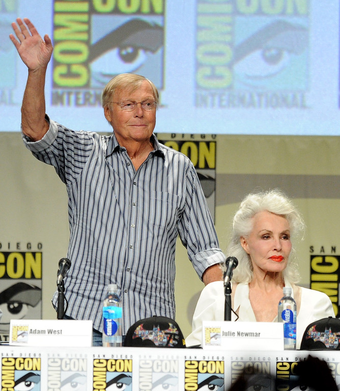 """. SAN DIEGO, CA - JULY 24:  Actors Adam West and Julie Newmar attend the \""""Batman: The Complete Series\"""" DVD release presentation during Comic-Con International 2014 at the San Diego Convention Center on July 24, 2014 in San Diego, California.  (Photo by Kevin Winter/Getty Images)"""