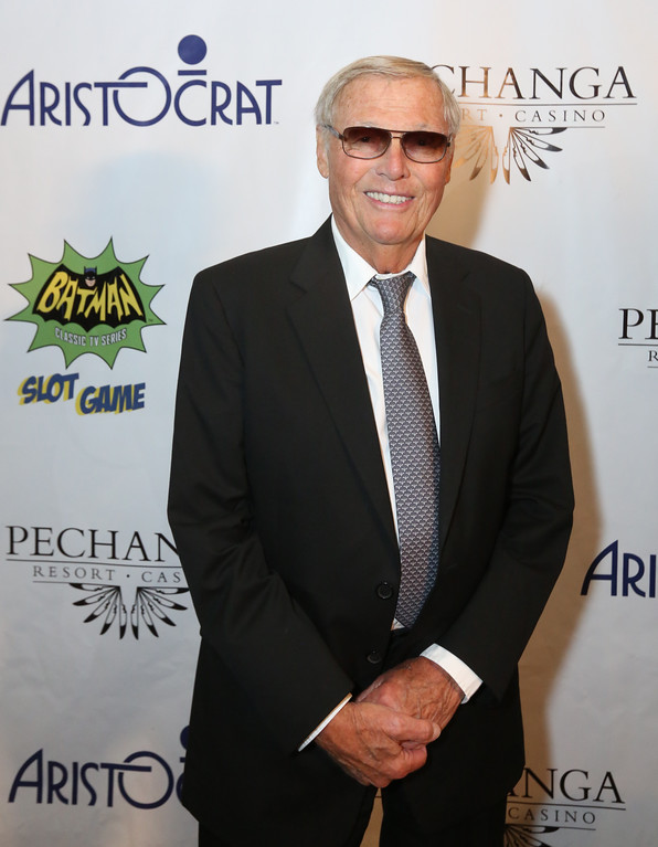 . Adam West, who portrayed Batman in the 1960\'s television series, poses at the premiere of Aristocrat\'s Batman Classic TV Series Slot Game Powered by Wonder Wheels at Pechanga Resort & Casino on Wednesday, June 25, 2014. (Photo by Casey Rodgers/Invision for Aristocrat/AP Images)