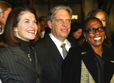 File - Paramounts Sherry Lansing, Viacoms Jonathan Dolgen and producer Afeni Shakur arrive at the premiere of 'Tupac: Resurrection' at the Cinerama Dome on November 4, 2003 in Los Angeles, California. (Photo by Kevin Winter/Getty Images)