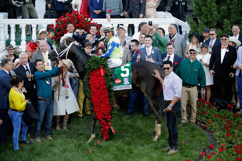 . LOUISVILLE, KY - MAY 06:  Jockey John Velazquez atop Always Dreaming #5 pose for a photo in the winner\'s circle after winning the 143rd running of the Kentucky Derby at Churchill Downs on May 6, 2017 in Louisville, Kentucky.  (Photo by Andy Lyons/Getty Images)