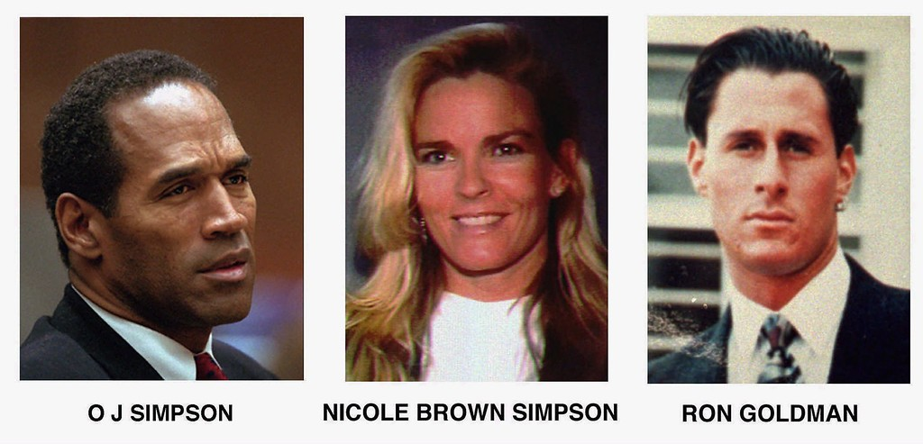 . FILE- This combo shows O. J. Simpson, left, and murder victims Nicole Brown Simpson, centre, and Ron Goldman, both of whom were murdered on June 12, 1994. O.J Simpson was aquitted of their murder. (AP Photo/File)