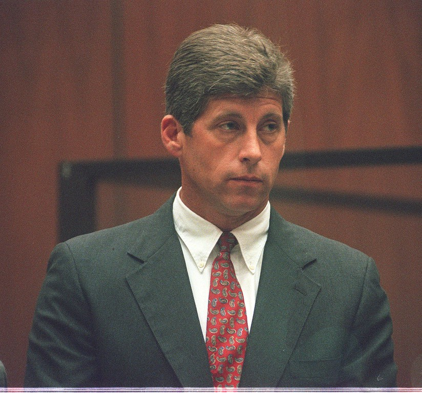 ". Former Los Angeles Police Department detective Mark Fuhrman, whose alleged racist past sparked outrage and helped acquit O.J. Simpson, is asked by Judge John Ouderkirk if he understands what ""no contest\"" means in a Los Angeles courtroom Wednesday, Oct. 2, 1996.  (AP Photo/Tiziana Sorge, Pool)"