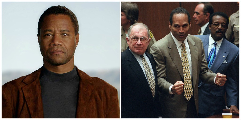 . American Crime Story: The People v. O.J. Simpson � Pictured left: Cuba Gooding, Jr. as O.J. Simpson. (CR: FX, Fox 21 TVS, FXP.) Pictured right: O.J. Simpson, center, with defense attorneys F. Lee Bailey, left, and Johnnie Cochran after Simpson was found not guilty of murdering his ex-wife Nicole Brown Simpson and her friend Ron Goldman. (AP Photo/Myung J. Chun, file)