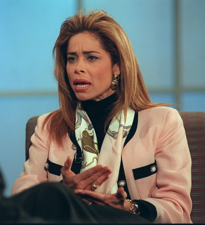 . Faye Resnick makes a point during a taped interview with talk show host Maury Povich in New York Tuesday, Feb. 6, 1996. (AP Photo/Joe Tabacca)