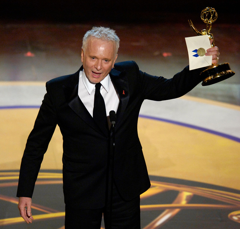 ". Anthony Geary accepts the award for outstanding lead actor in a drama series, for his work on ""General Hospital,\"" at the 33rd Annual Daytime Emmy Awards in Los Angeles on Friday, April 28, 2006. (AP Photo/Chris Pizzello)"