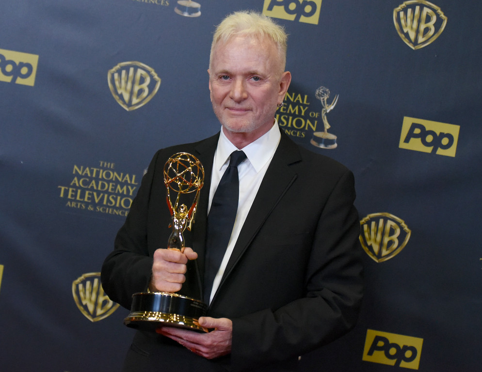 . Anthony Geary poses in the pressroom with  the award for outstanding lead actor in a drama series for �General Hospital� at the 42nd annual Daytime Emmy Awards at Warner Bros. Studios on Sunday, April 26, 2015, in Burbank, Calif. (Photo by Richard Shotwell/Invision/AP)