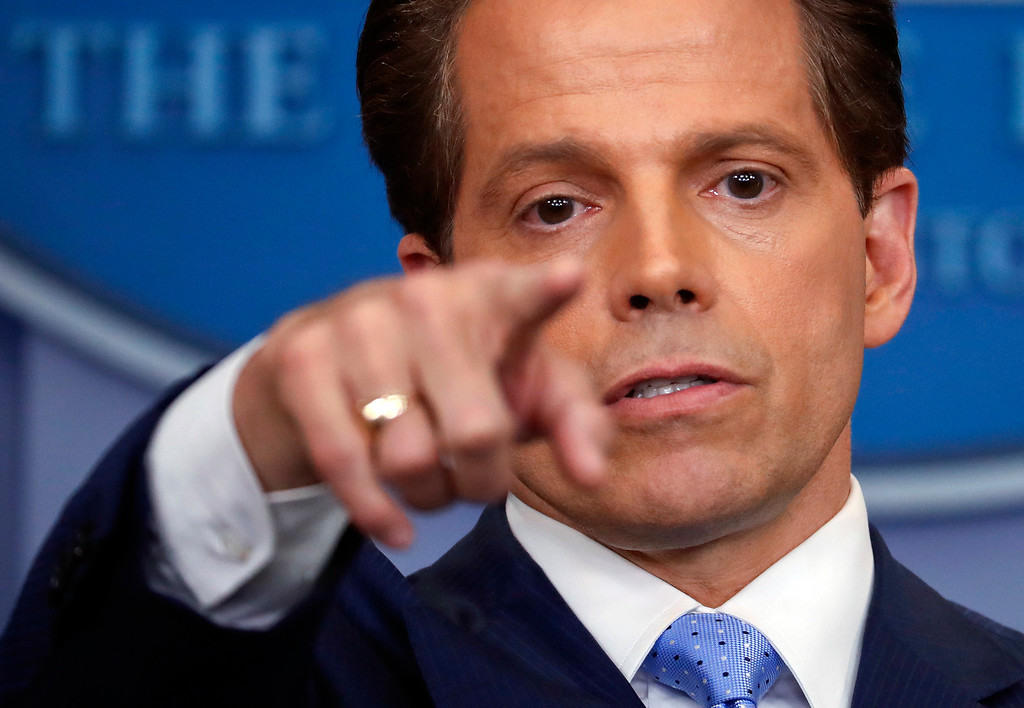 . File - Incoming White House communications director Anthony Scaramucci points as he answers questions from members of the media during the press briefing in the Brady Press Briefing room of the White House in Washington, Friday, July 21, 2017. (AP Photo/Pablo Martinez Monsivais)