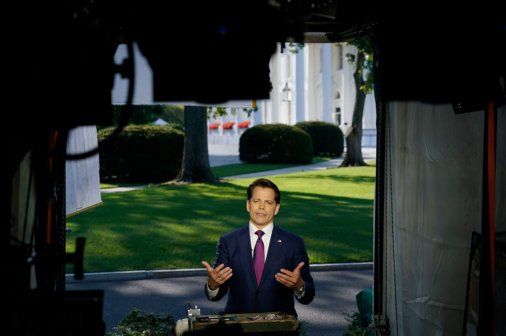 . White House communications director Anthony Scaramucci speaks during a interview with CNN at the White House in Washington, Tuesday, 25, 2017. (AP Photo/Pablo Martinez Monsivais)