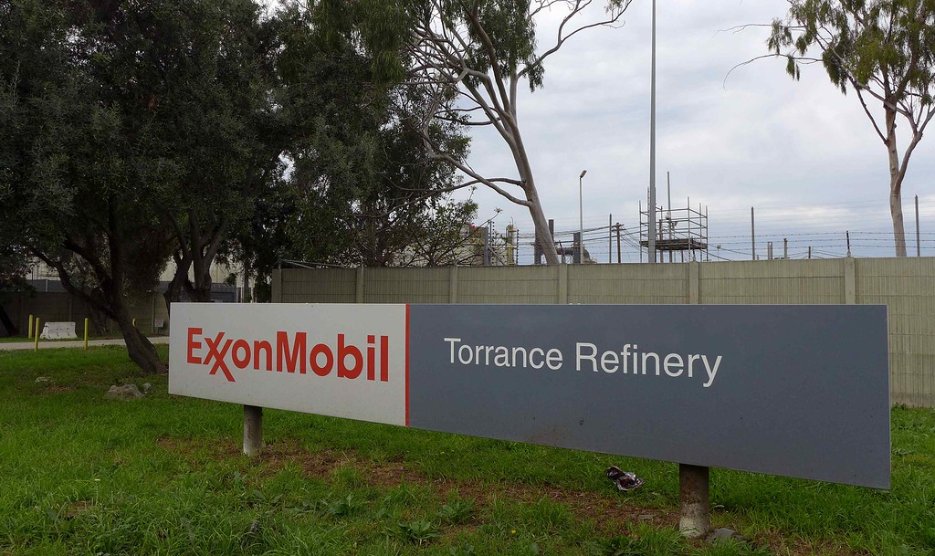 . ExxonMobil refinery in Torrance. Wednesday, Feb. 17, 2016. Local activists will mark the two-year anniversary of the ExxonMobil refinery blast in 2015 that spawned demands by two grass-roots groups that the refinery cease using highly toxic hydrofluoric acid. Members of both will gather Saturday morning at Columbia Park to protest and march to the refinery.  (Steve McCrank / Daily Breeze)