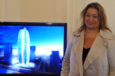 Iraqi-born architect Zaha Hadid stands o