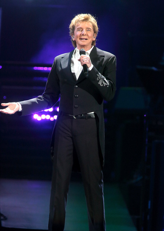 . Barry Manilow performs in concert during his �One Last Time! Tour 2016� at the Giant Center on Thursday, March 17, 2016, in Hershey, Pa. (Photo by Owen Sweeney/Invision/AP)