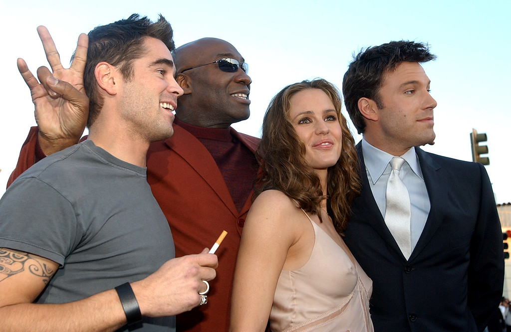 ". ""Daredevil \"" cast members, from left, Colin Farrell, Michael Clarke Duncan, Jennifer Garner and Ben Affleck pose at the premiere of the film in the Westwood section of Los Angeles, Sunday, Feb. 9, 2003. (AP Photo/Chris Pizzello)"