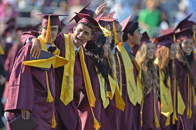 Commencement ceremony for Torrance High's Class of 2016 Wednesday, June 22, 2016, Zamperini Stadium, Torrance, CA.   Students sign the alma mater to conclude the ceremony. Photo by Steve McCrank/Staff Photographer