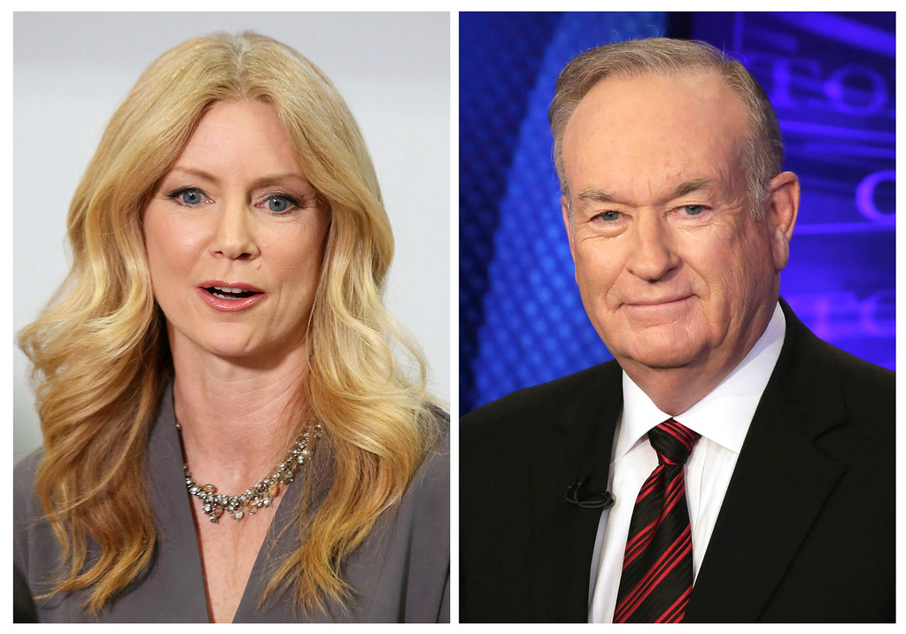 """. File - In this combination photo, former Fox News contributor Wendy Walsh, left, appears at a news conference in the Woodland Hills section of Los Angeles on Monday, April 3, 2017, and Fox News personality Bill O\'Reilly appears on the set of his show, \""""The O\'Reilly Factor\"""" on Oct. 1, 2015 in New York. Amid mounting allegations of sexual harassment by O�Reilly, parent 21st Century Fox is investigating one of those claims against its popular host. The investigation is in response to a complaint lodged last week by Wendy Walsh, who formerly was a regular guest on Fox News\' \""""The O\'Reilly Factor.� (AP Photo/Anthony McCartney, left, and Richard Drew, Files)"""