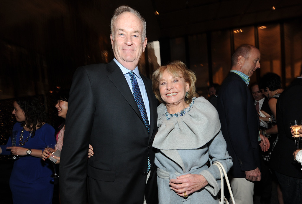 . From left, Bill O\'Reilly and Barbara Walters attend The Hollywood Reporter Celebrates the 35 Most Powerful People in Media, on April 10th, 2013, in New York. (Photo by Evan Agostini/Invision for The Hollywood Reporter/AP Images)