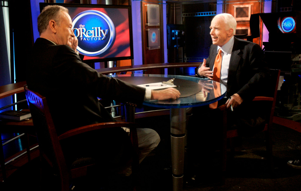 . Republican presidential candidate, Sen. John McCain, R-Ariz., right, speaks with host Bill O\'Reilly before a taping of FOX News Channel\'s The O\'Reilly Factor Thursday, May 8, 2008 in New York. (AP Photo/Jeff Chiu)