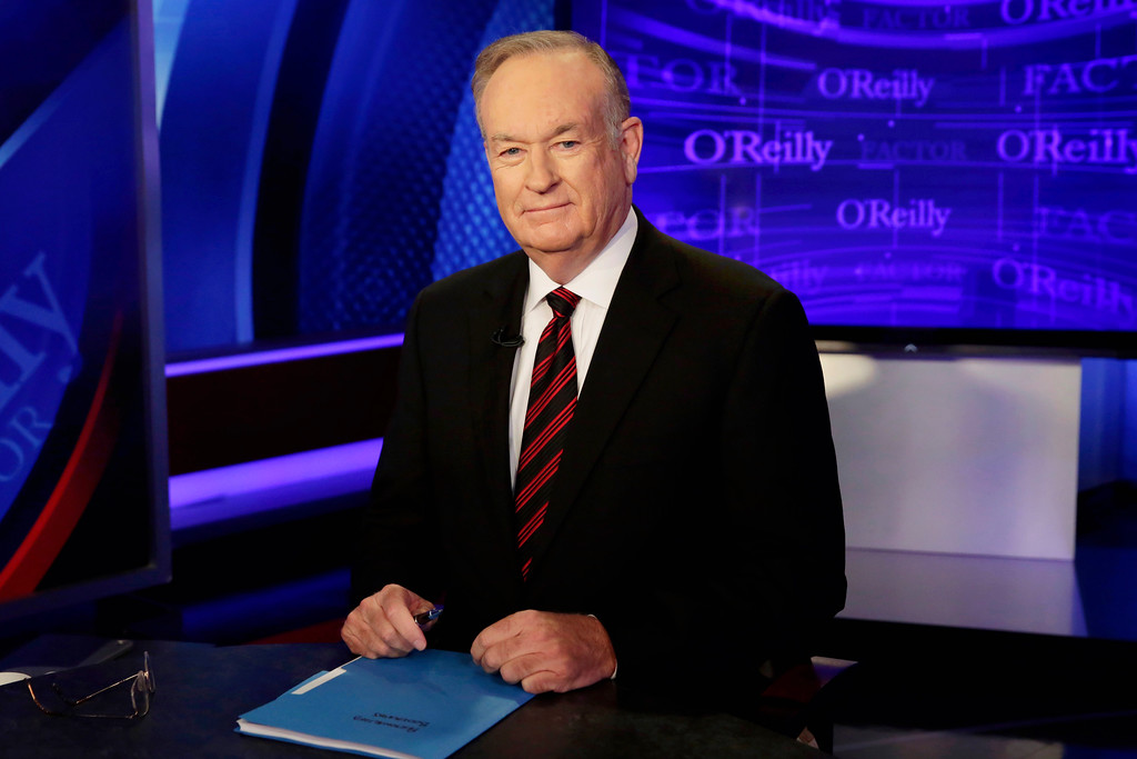 ". File - Host Bill O\'Reilly of ""The O\'Reilly Factor\"" program, on the Fox News Channel, poses for photos, in New York, Thursday, Oct. 1, 2015. O�Reilly will not be returning to the Fox News Channel, 21st Century Fox said in a statement on Wednesday, April 19, 2017. (AP Photo/Richard Drew)"