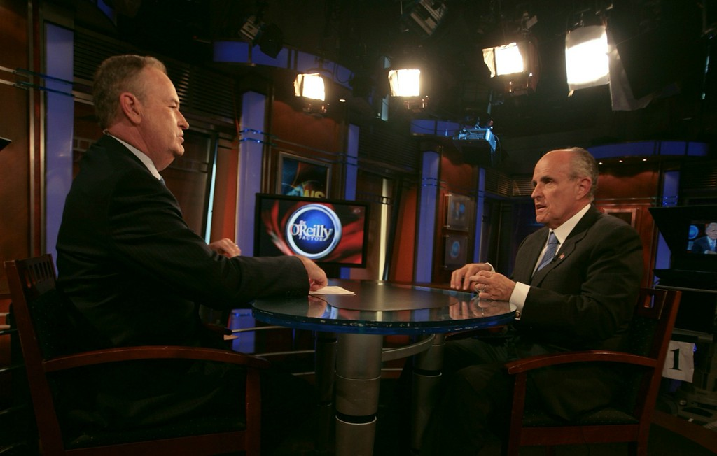 ". Republican presidential hopeful Rudy Giuliani, right, speaks with Bill O\'Reilly before an interview on Fox News Channel\'s ""The O\'Reilly Factor\"" in New York, Monday Aug. 13, 2007.   (AP Photos/Bebeto Matthews)"