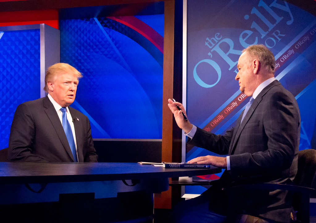 ". Republican presidential candidate Donald Trump is interviewed by Bill O\'Reilly, durign the Fox news talk show ""The O\'Reilly Factor,\"" Friday, Nov. 6, 2015, in New York. (AP Photo/Bebeto Matthews)"
