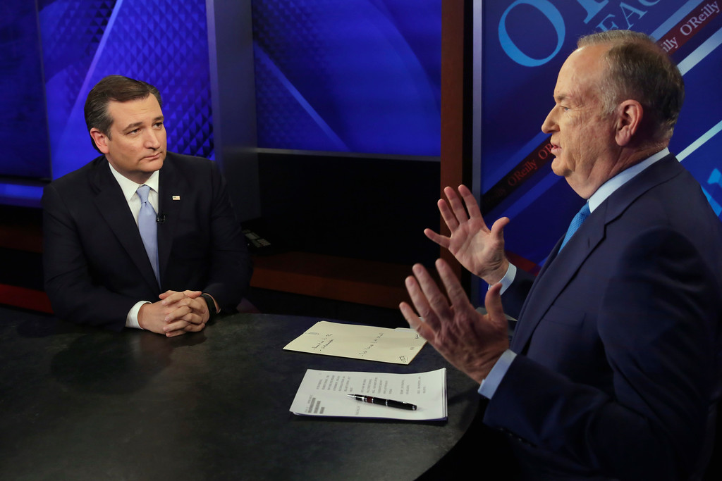 """. File - Republican presidential candidate Ted Cruz, left, is interviewed by host Bill O\'Reilly during \""""The O\'Reilly Factor\"""" television program, on the Fox News Channel in New York, Monday, April 18, 2016. O�Reilly will not be returning to the Fox News Channel, 21st Century Fox said in a statement on Wednesday, April 19, 2017. (AP Photo/Richard Drew)"""
