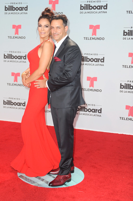 . CORAL GABLES, FL - APRIL 27:  Gloria Peralta and Omar Germenos attend the Billboard Latin Music Awards at Watsco Center on April 27, 2017 in Coral Gables, Florida.  (Photo by Sergi Alexander/Getty Images)