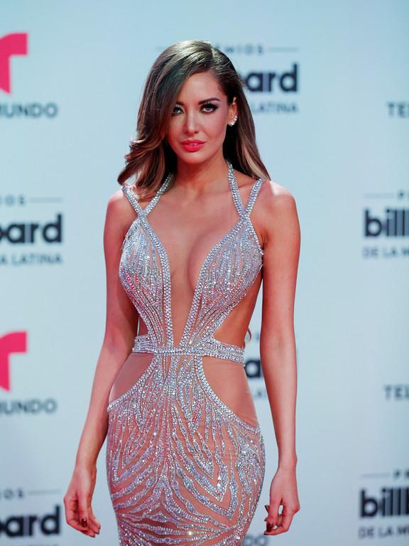 . Model Patricia Zavala harrives at the Latin Billboard Awards, Thursday, April27, 2017 in Coral Gables, Fla. (AP Photo/Wilfredo Lee).