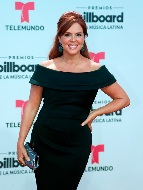 . TV personality Maria Celeste Arraras arrives at the Latin Billboard Awards, Thursday, April 27, 2017 in Coral Gables, Fla. (AP Photo/Wilfredo Lee).